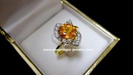 แหวนผู้หญิงบุษราคัมบางกะจะ เป็นรูปกังหัน ดีไซน์เก๋ น่ารัก
