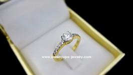 แหวนเพชรแต่งงาน ใบรับรอง GIA น้ำ 100 (D Color) VVS ขนาด 0.42 ct Cutting:Excellent สำหรับเจ้าสาวแสนสวย