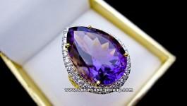 แหวนอเมทิสต์หยดน้ำทรง Lavender Essence ใช้อเมทิสต์สีม่วงสวย สีทั่วทั้งเม็ด ทรงหยดอ้วนปุ๊กสวยงาม ตัวเรือนฉลุลายเพิ่มความสวยงามขึ้นไปอีกค่ะ