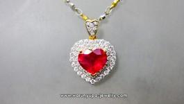จี้ทับทิมหัวใจล้อมเพชรทรง Extremely Heart ทับทิมสีแดงอมชมพู ล้อมเพชรขาววิ้งๆ สองชั้นฝังไมโคร ดูดีมีระดับค่ะ