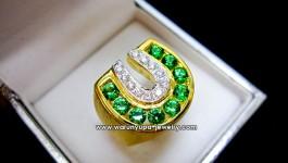 แหวนกรีนกาเนต ทรงเกือกม้าทรง H-Green ++ ราคา 3x,xxx บาท ++ แหวน Green Garnet สีเขียววิ้ง สุดๆ ขึ้นตัวเรือนเป็นรูปเกือกม้า สวยงามมากค่ะ กรีนกาเนตน้ำหนักรวม 2.xx กะรัต ตัวเรือนทองหนัก 13-15 กรัม เพชรหนักรวม 0.28 กะรัต น้ำ 98