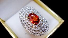 แหวนออเร้นซัฟไฟ (Orange Sapphire) สีส้มจี๊ดดด สร้างสีสัน ประดับเพชร น้ำ 98-99 (color 98-99) ล้อม 4 ชั้น โค้งรับนิ้วมือ งานโมเดิล ฝังด้วยหนามไมโคร เปิดหน้าเพชรมาเต็มๆ ไฟล้นๆ วงนี้รับประกันอีกวงว่าสวยเหมือนทุกๆวงที่ผ่านมาจ้า มีท่านใด รักและหลงไหลในสีของนาง รับไปดูแลได้เลยจ้า รายละเอียด น้ำหนักเพชร 102 เม็ด = 2.45 กะรัต น้ำ […]